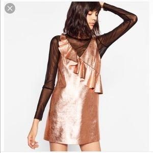 Zara metallic rose gold shift ruffle dress